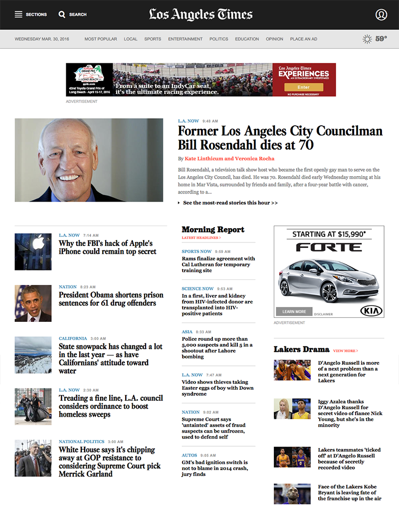 Los Angeles Times Redesign
